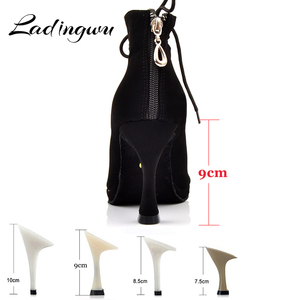 Image 2 - Ladingwu 새로운 여성의 라틴 댄스 신발 볼룸 탱고 플랫폼 숙녀 ladys 편안한 플란넬 댄스 신발 블랙 9cm 쿠바