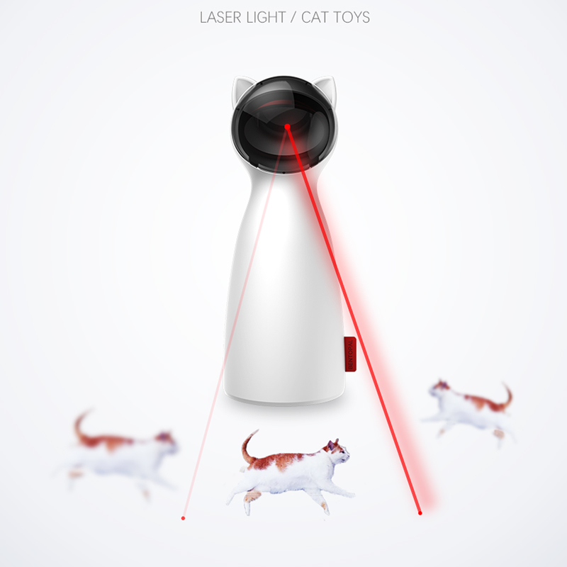 Creative Cat Pet LED Laser Funny Toy Smart Automatic Cat Exercise Training Entertaining Toy Multi-Angle Adjustable USB Charge