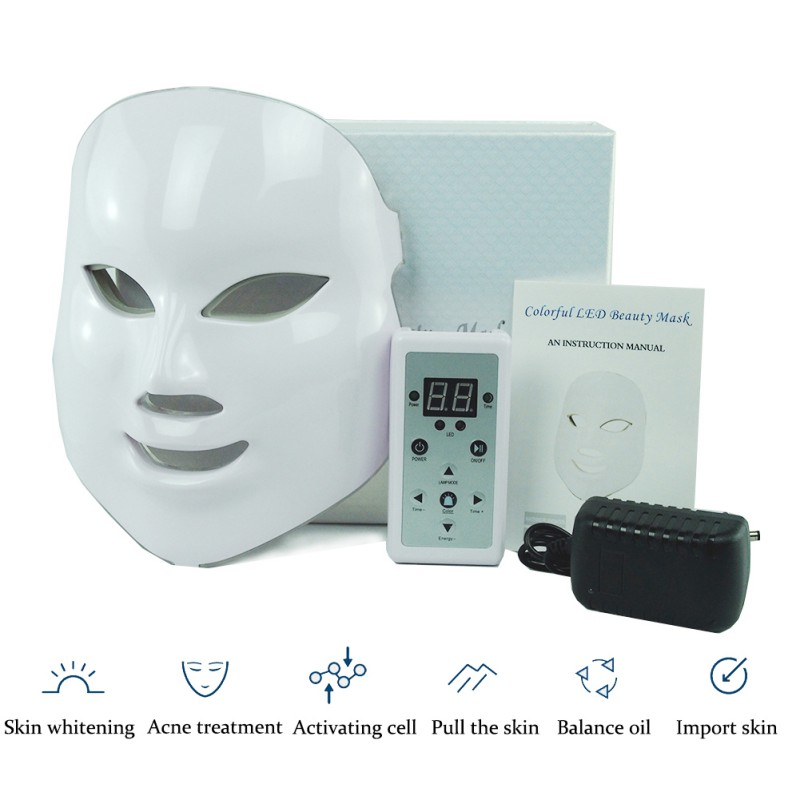 LED Facial Mask Wrinkle Acne Removal Face Beauty Spa Therapy Photon Light Skin Care Rejuvenation Instrument 7 Colors Hot