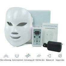 LED Masque Facial Rides Acné Retrait Visage Beauté Spa Thérapie Photon Lumière Soins de La Peau Rajeunissement Instrument 7 Couleurs Chaude