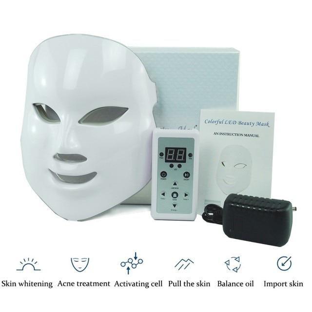 Máscara Facial LED para eliminar el acné de arrugas para tratamiento de Spa de belleza, instrumento de rejuvenecimiento para el cuidado de la piel, luz de fotón, 7 colores calientes