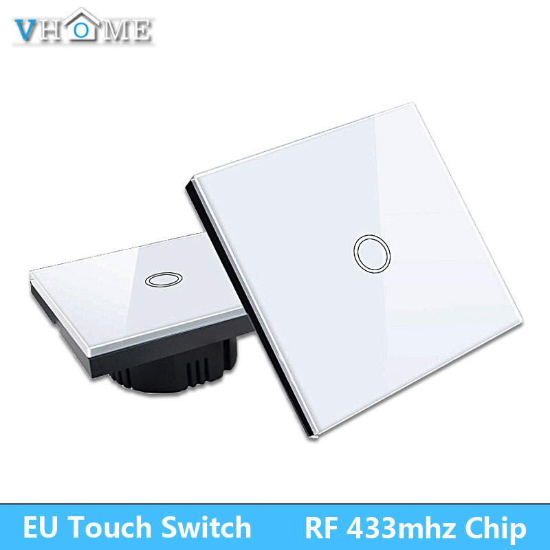 VHOME Smart Home 433MHZ RF Smart Remote Control transmitter+220V wi-fi By Broadlink Panel Touch Wall Light Switch EU/UK vhome eu uk rf 433mhz wireless wall sticker panel touch remote control & 3 gang crystal glass wall lighting touch switch 220v 5a