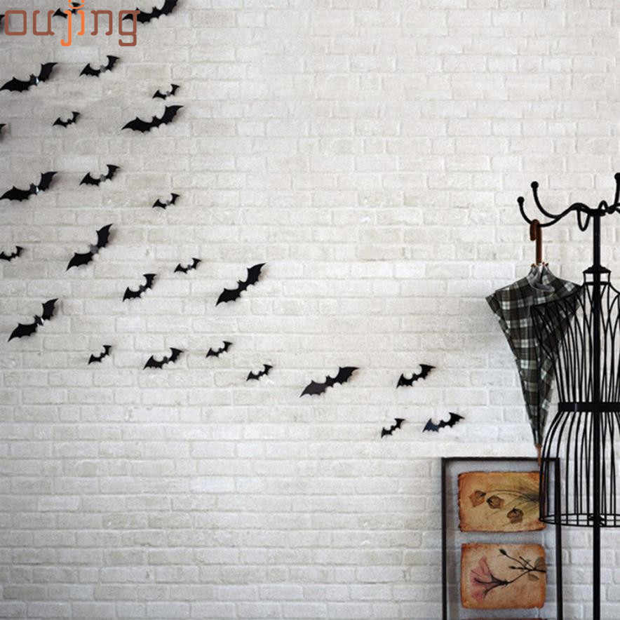 New Qualified 2017 New Wall Stickers 12pcs Black 3D DIY  Bat Decal Home Halloween Decoration  Levert Dropship dig6425