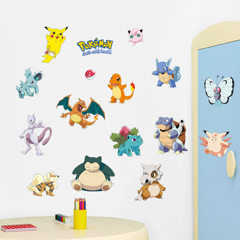 % Cartoon Pikachu Pokemon Go Wall Stickers For Kids Rooms Wall Decals Poster Room Decoration Poster Nursery Kids Room Decals ...