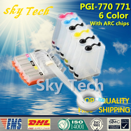 6 Color Empty CISS Suit for PGI770 CLI771 , PGI-770 CLI-771 CISS suit for Canon Pixma MG7770 etc , with ARC Chips empty ciss for canon pgi 650 bk cli 651 kcmyg ciss for canon pixma mg6360