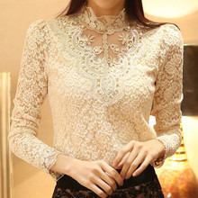 Spring Nice  Lace  Embroidery Plus Size Women Base Shirts Beading Elegant Flora Ladies Blouses Vintage Retro Blouses A818