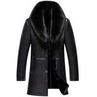 Русская зима лиса меховой воротник кожаная куртка для мужчин новый бизнес повседневное ветровка средней длины пальто мужской овчины 5XL