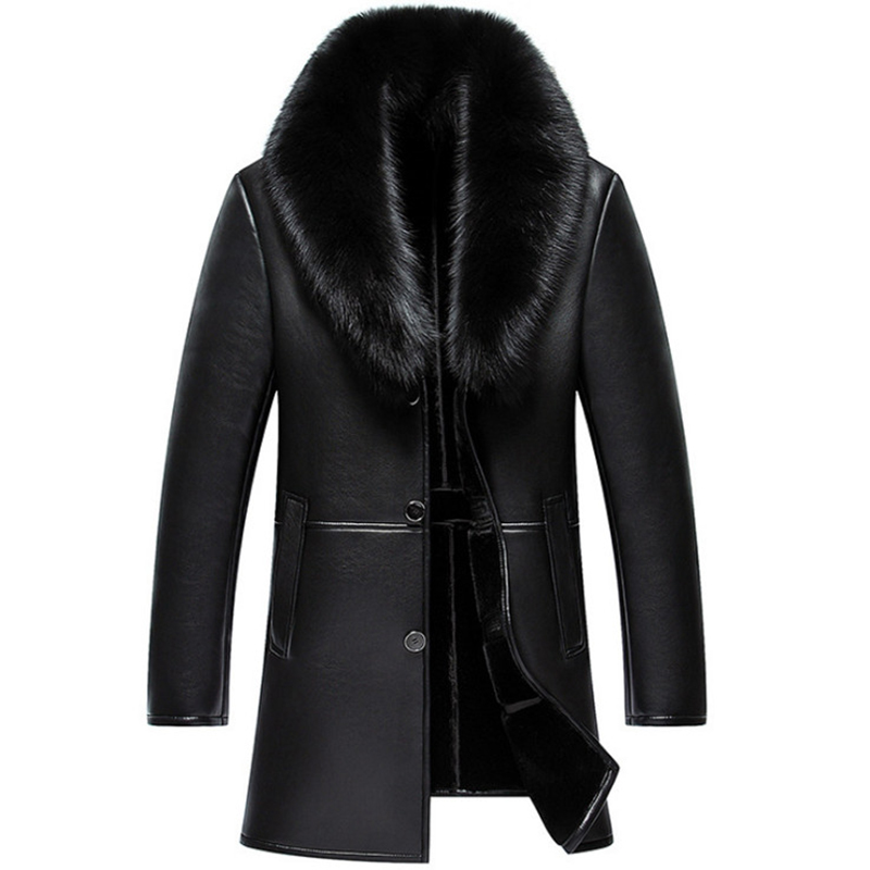 Russian Winter Fox Fur Collar Leather Jacket Men New Business Casual Medium Long Windbreaker Coat Male Sheep Skin Jacket 5XL