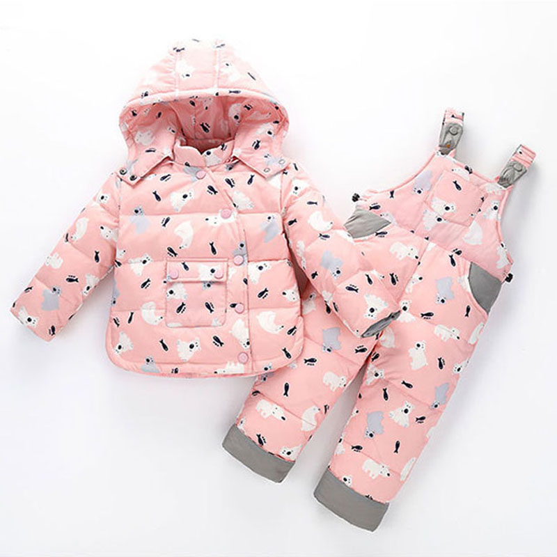 2017 Kids Snowsuits Winter Autumn Down Jackets For Girls Children Clothes Toddler Boys Cartoon Outerwear Clothing Set Jumpsuit 2017 winter down jackets for boys