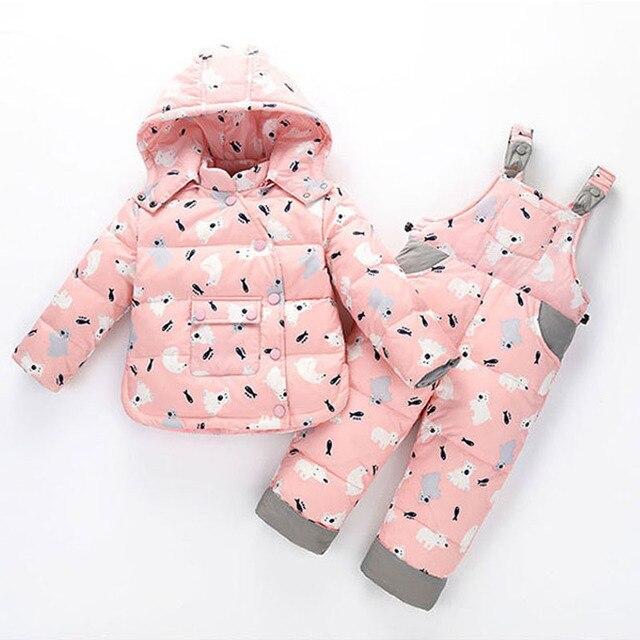 2018 Kids Snowsuits Winter Autumn Down Jackets For Girls Children Clothes Toddler Boys Cartoon Outerwear Clothing Set Jumpsuit