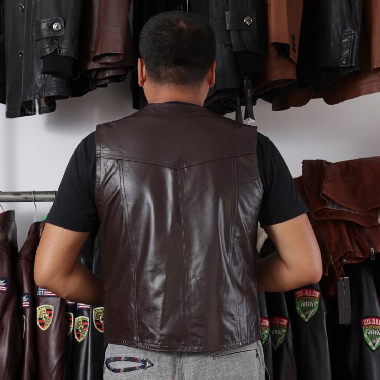 6ae14390cb4b3 Men s Cow Genuine Leather Vest Reporter Vest Waistcoat Tank Top ...