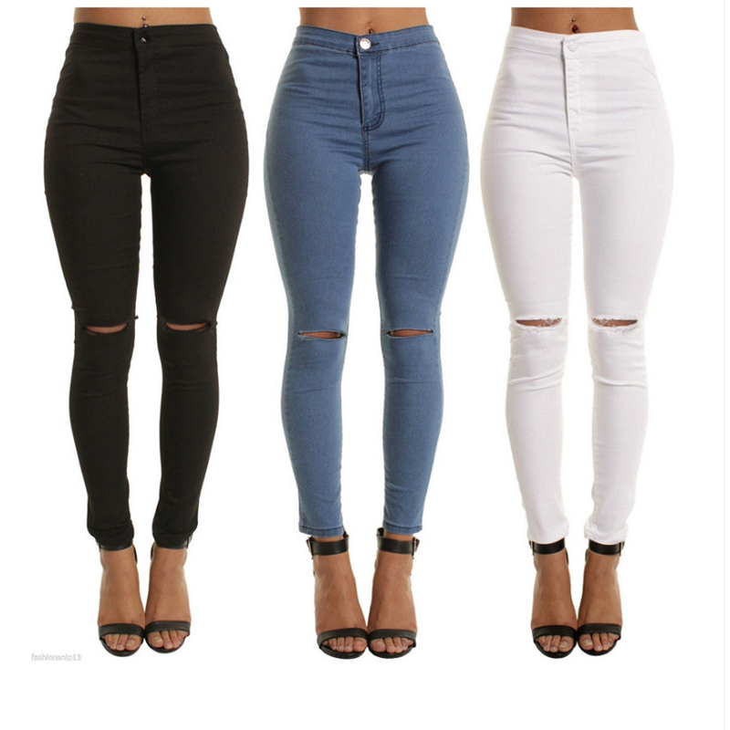 Women Plus Size Ripped   Jeans   Slim Denim Destroyed Hole High Waist   Jeans   Casual Stretch Pencil Pants Trousers C0988