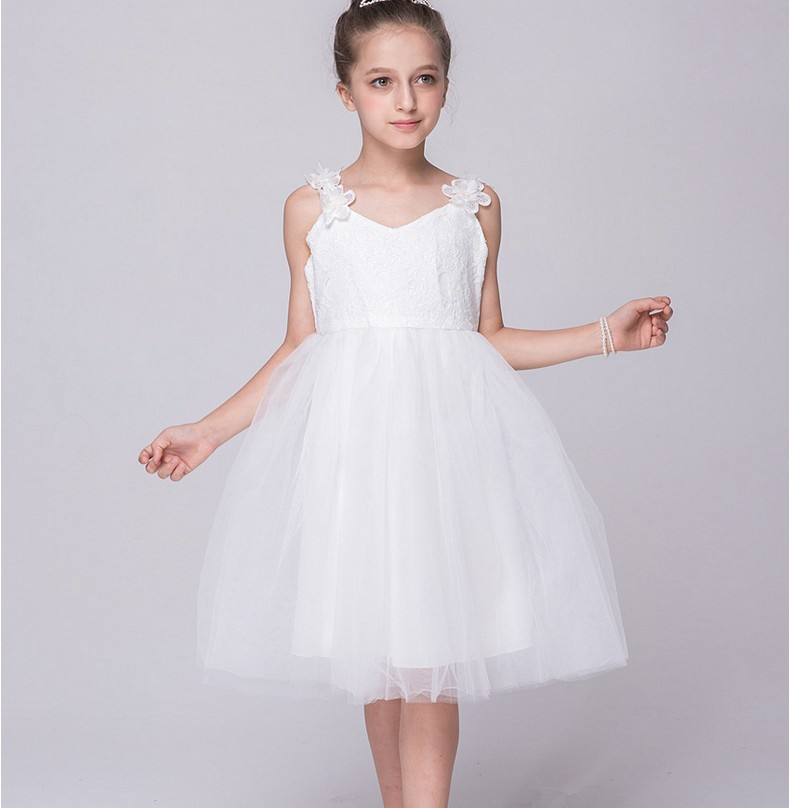 Lace White Flower Girls Dresses For Wedding Fashion Girl Birthday Party Dress Knee- Length Girls Clothes Mother Daughter Dresses