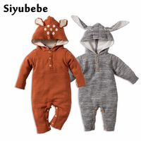 Baby Rompers Winter Thick Climbing Clothes Newborn Boys Girls Warm Romper Knitted Sweater Christmas Deer Rabbit
