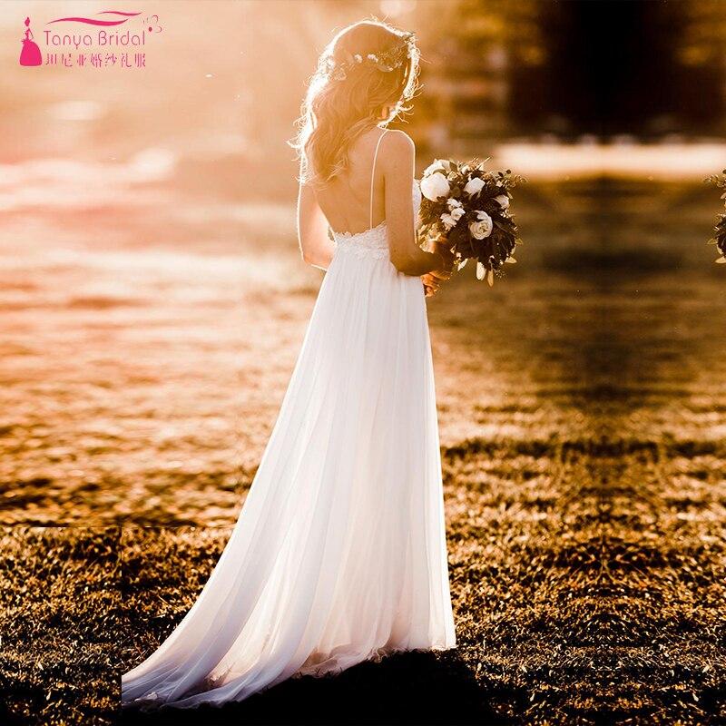 Modern Romantic Vestidos de Casamento Simples Elegante Totalmente Forrado Saia Boêmio Vestido De Noiva Vestidos de Noiva ZW168