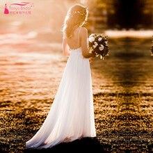 Moderne Romantische Trouwjurken Simplistische Elegante Volledig Gevoerd Rok Bohemian Vestido De Noiva Bruidsjurken ZW168