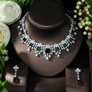 Image 2 - HIBRIDE najnowszy luksusowy Sparking Brilliant Cubic naszyjnik cyrkoniowy kolczyki ślubne biżuteria dla nowożeńców sukienka akcesoria N 988