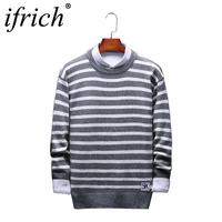 Fashion Brand Casual Mens Christmas Sweater O Neck Striped Slim Fit Warm Thick Men Sweater Pullovers Men Clothes Light Gray 2019