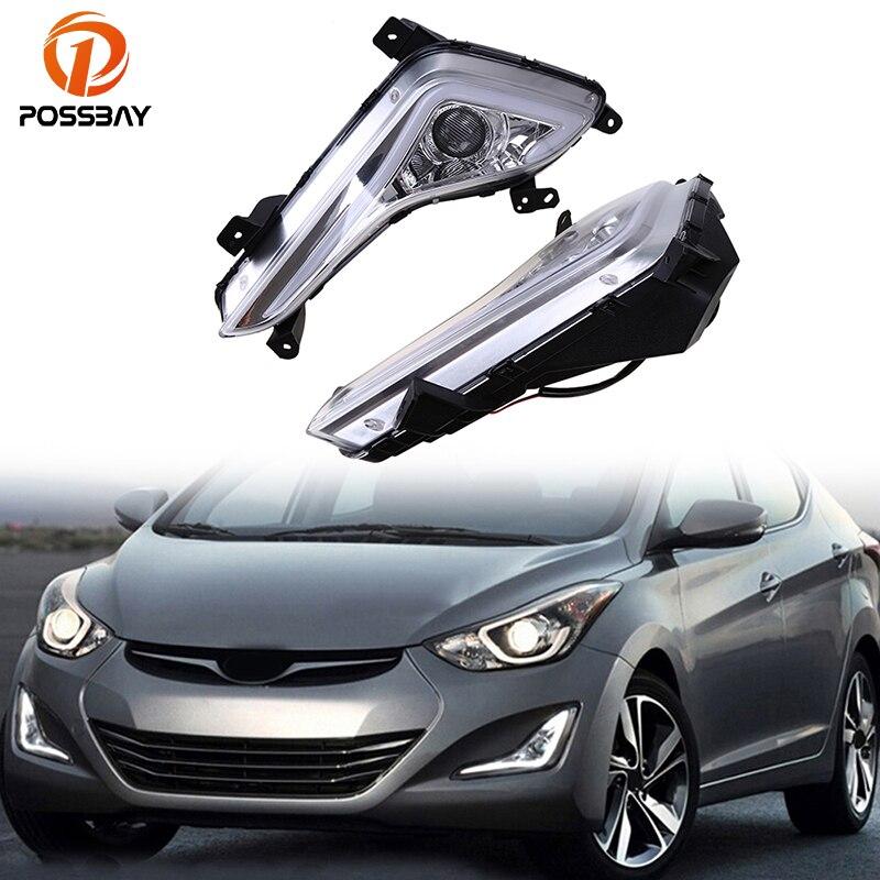 POSSBAY Fog Lights for Hyundai Elantra Sedan (MD) 2014 2015 2016 Facelift Car DRL 12V White LED Daytime Running Light Daylights цена