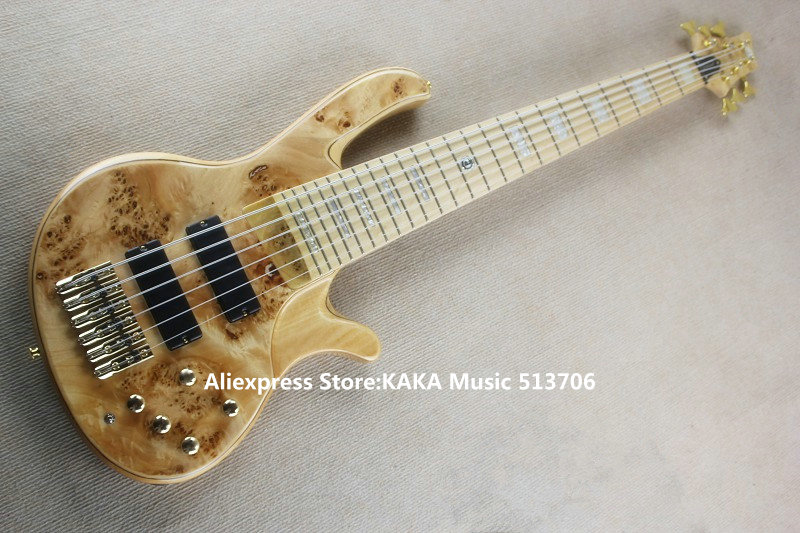 New Arrival 6 strings Electric Bass with Battery Gold Hardware From China