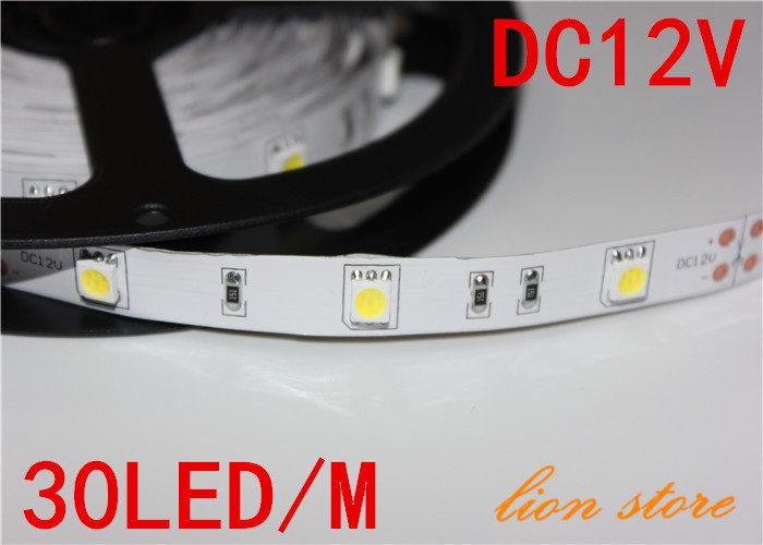5m/lot Non waterproof LED strip 5050 SMD 12V flexible light 30LED/m,5m 150LED,White,warm White ,cold white Blue,Green,Red,Yellow