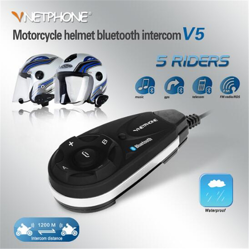 VNETPHONE Motorcycle Bluetooth Intercom Helmet Headset Intercom 5 People At The Same TimeWireless Intercom Motorcycle 1200m
