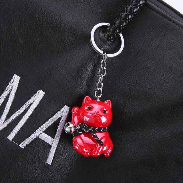 Gwwfs Mini acrylique chat chanceux voiture porte-clés cloche noël nouvel an cadeaux blanc petit ami porte-clés amoureux bijoux mode