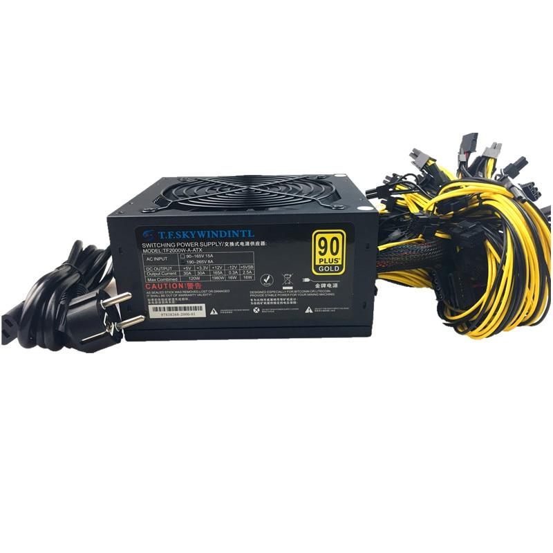 T F SKYWINDINTL 2000W Bitcoin Mining PSU PC Power Supply Computer Mining Rig 8 GPU ATX