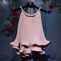 Halter style Women Pullovers Tops 2018 New Summer Sleeveless Ruffles Pleated Chiffon Shirts Loose Pearl O Neck Female Blouses