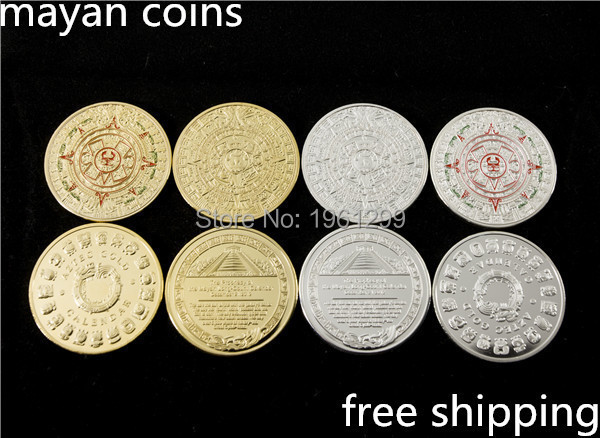 4 mixed batch of 2012 calendars mayan prophecy coin bag 24 k gold medal free shipping 4 PCS/lot of gold COINS