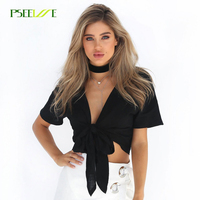PSEEWE 2017 Summer Black White Sexy Cotton Cool Blouse Short Shirt Women Short Sleeves Female Strappy