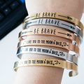 Fashion Men  Jewelry  Stainless Steel Lettering Carpe Diem  Cuff Bracelet for Couple Lover Gift Brazaletes Pulseras Mujer De Oro