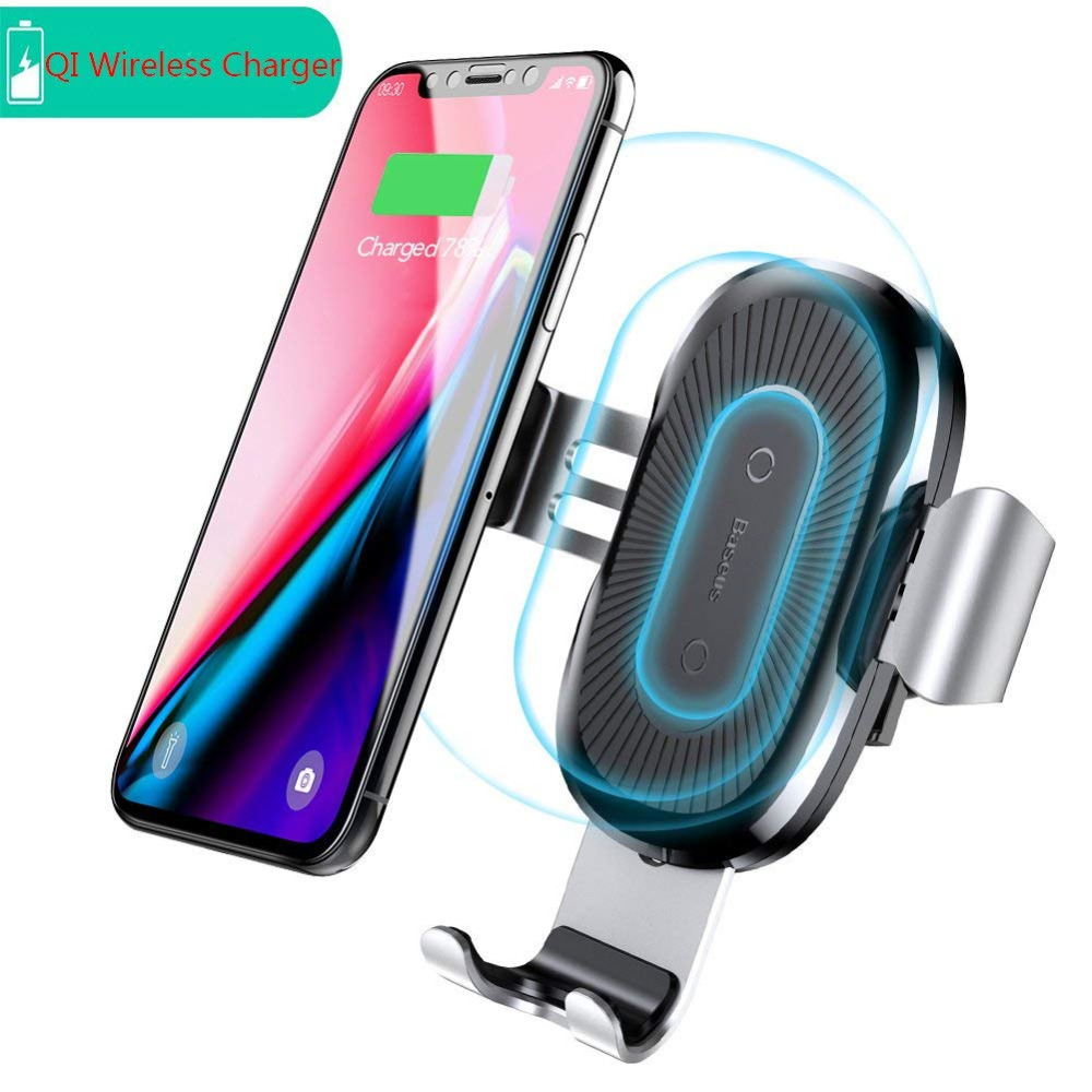 Baseus 10W QI Wireless Charger Car Phone Holder For iPhone X 8 Samsung S9 Plus Fast Wireless Car Charger Mobile Phone Holder