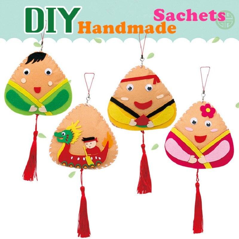 2pcs Children Handmade Non-Woven Zongzi Sachet Kid Craft Toy DIY Materials Package Kindergarten DIY Sachets Hang Decoration Toys