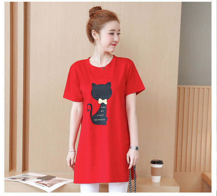 2018 Large size Women T-shirt dress summer Short sleeve Cats print Top Tees Casual O-neck Loose Female Tshirt Plus size 5XL J215 15