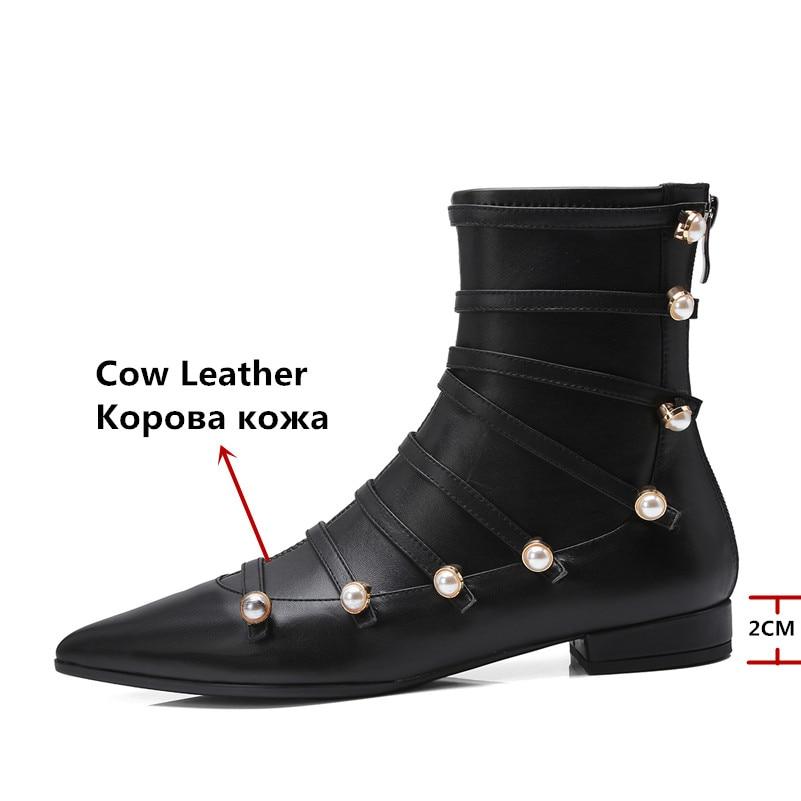adeeb51234b1f8 Talons Cheville Chaud Automne Cuir Chaussures Punk Mode Noir Véritable  Danse En Perle Partie Hiver Carré Bottes Femmes ...