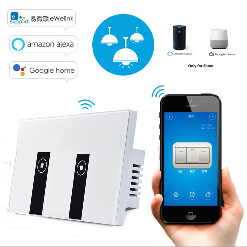 eWelink US Standard 2 Gang Wifi Control Touch Light Switch Work with Alexa/Google Home, Wireless Control Smart Switch via Phone, ewelink us type 1 gang 1 way wall light switch touch control panel wifi remote control via smart phone work with alexa ewelink