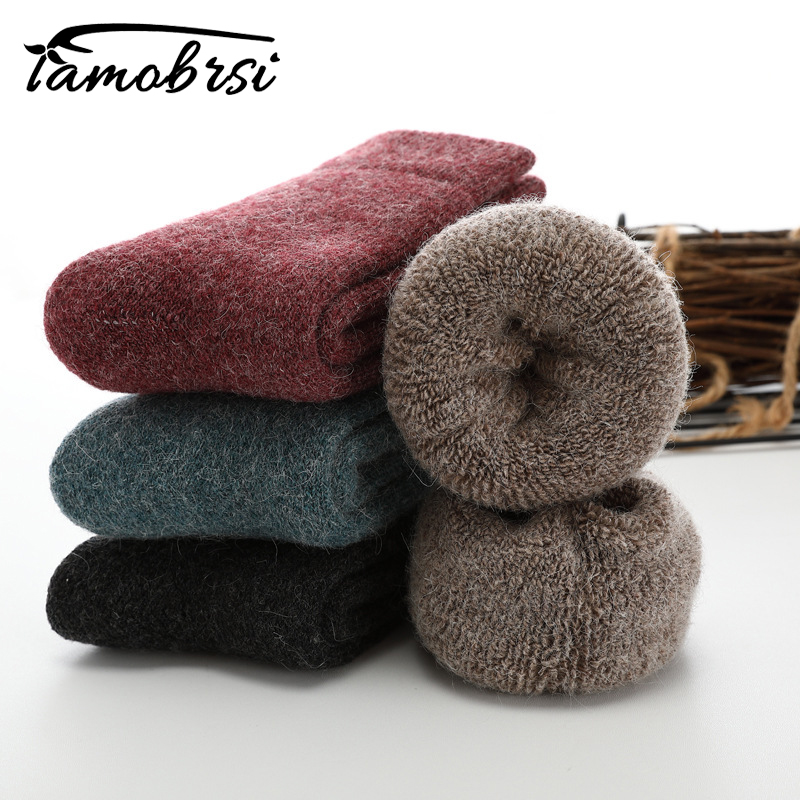 Russia Super Thicker Solid Socks Merino Wool Rabbit Socks Against Cold Snow Socks Winter Funny Happy Socks Female Women Socks