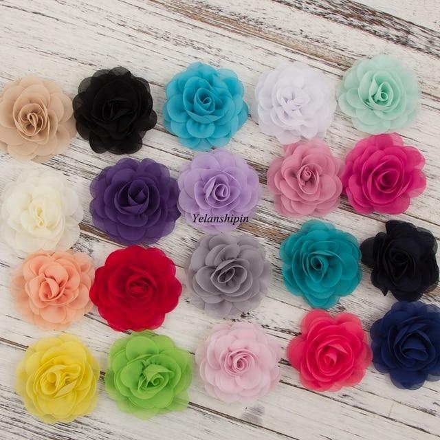 1 PC 20 cores 8.5 cm Cabelo Macio Chiffon Pétalas de Papoula flores Clipes Para Headband Tecido Rosa Flores Para Embarcações de Cabelo acessórios