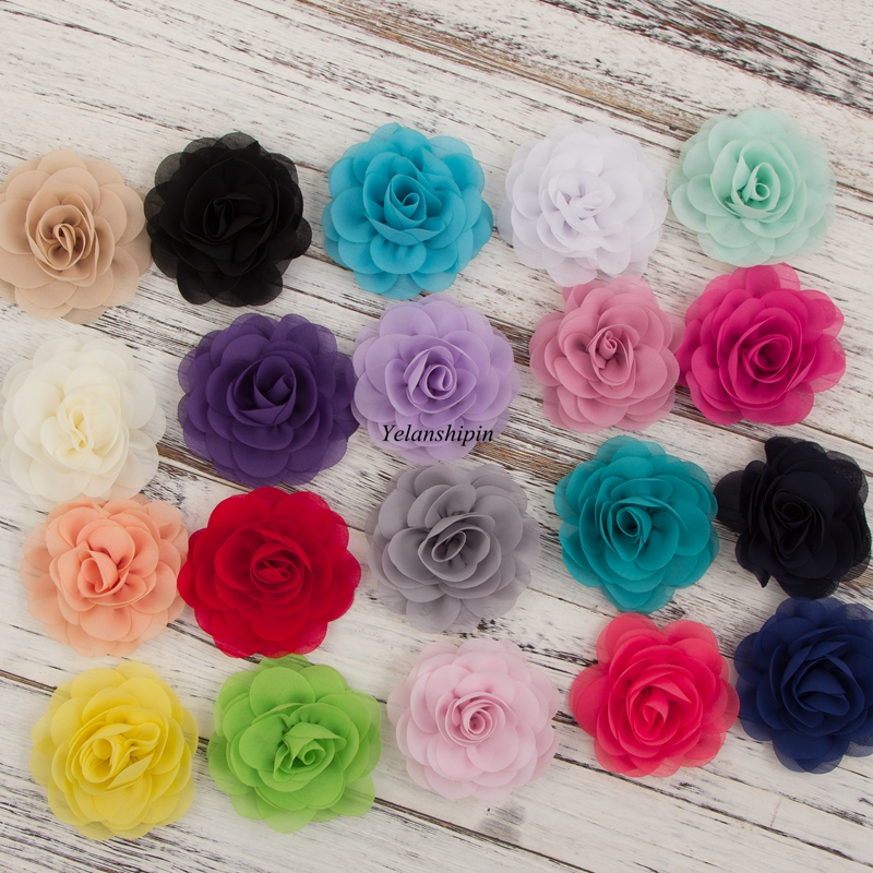 1PC 20 Colors 8.5 Cm Soft Chiffon Petals Poppy Hair Flowers Clips For Headband Rose Fabric Flowers For Craft Hair Accessories
