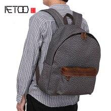 AETOO New retro men's bag canvas shoulder bag men's simple super wearable men's backpack