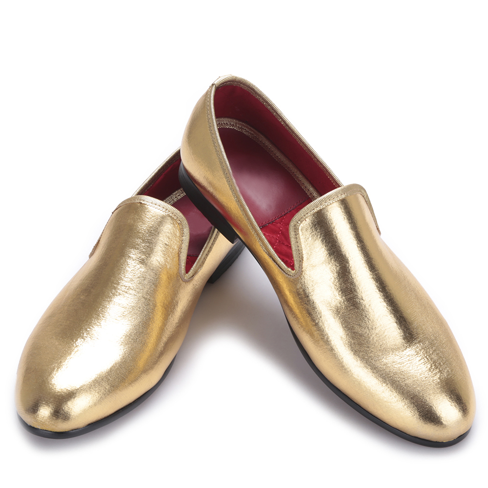 Fashion Men Flats Shoes HandMade Shiny Gold and Silver party and wedding men dress loafers Big Mocassins men loafers paint and rivet design simple eye catching is your good choice in party time wedding and party shoes men flats