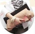 Hot Wholesale High Quality PU Leather Fashion Women Hand-weaved Handbag Wooden Handle Clutch Bag Messenger Bags WQ001