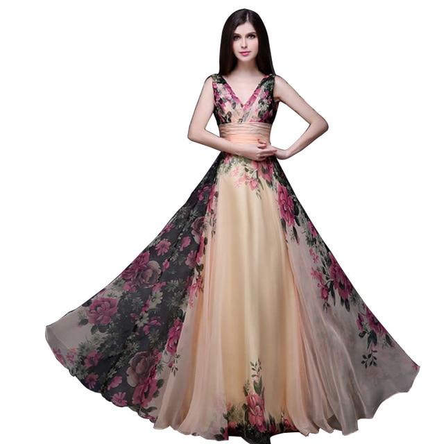 cba44083c0 Summer Vintage Floral Dress 2016 High Waist V-neck Long Dress robe longue  femme Evening