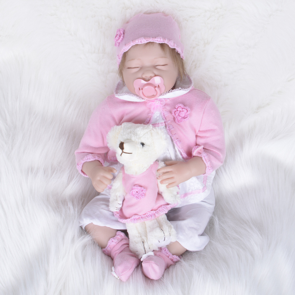 22 inch 55cm Girl Reborn Baby Dolls Handmade Alive Silicone Reborn Doll Lifelike Sleeping Girl Babies Toys Christmas Gifts handmade chinese ancient doll tang beauty princess pingyang 1 6 bjd dolls 12 jointed doll toy for girl christmas gift brinquedo