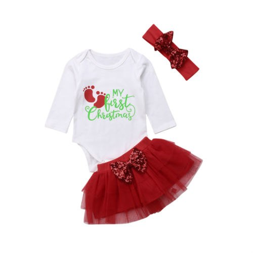 aa92afeb3 0-24M Newborn Baby Girl My First Christmas Long Sleeve Romper + Tutu Skirt  Headband Clothes Outfits