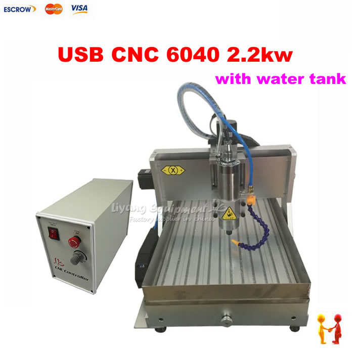 Factory 2200W 3 Axis mini metal cnc milling machine 6040 USB port engraving machine CNC 4060 for stone gold wood with water sink 3 axis cnc 4030 engraving machine 1500w water cooled drilling milling lathe with usb interface