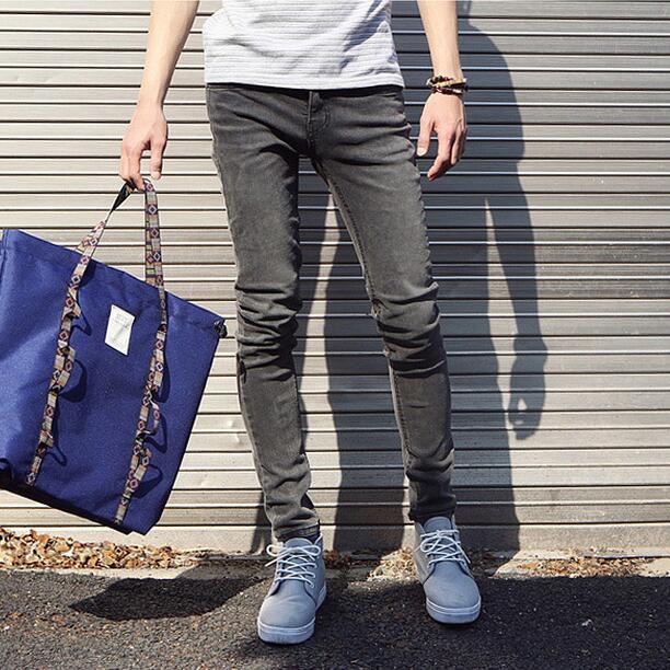 Men Grey Denim Pencil Pants Slim Fit Korean Fashion Mens Jeans New 2017 Garment Washed Grey