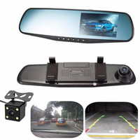4.3'' Car DVR Camera 1080P 120 Degree Dash Cam Rear View Video Recorder Registrars with Rearview Camera USB Adapter Charger