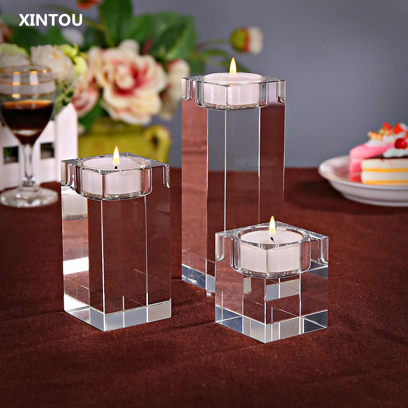 XINTOU Crystal Glass Cube Big Tealight Candle Holders Clear Square jars Oil Lamp Holder For Wedding centerpieces candelabra image